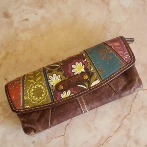 Fossil brown multicolor floral wallet